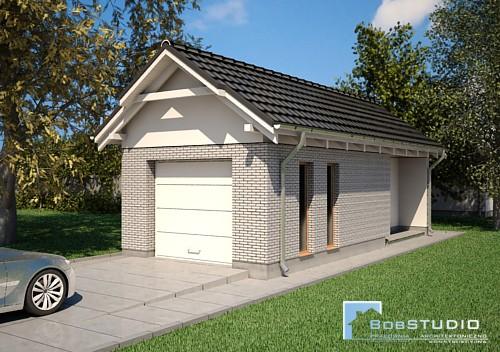 Garaż z Dachem Dwuspadowym T2 - PROJEKT NA ZGŁOSZENIE
