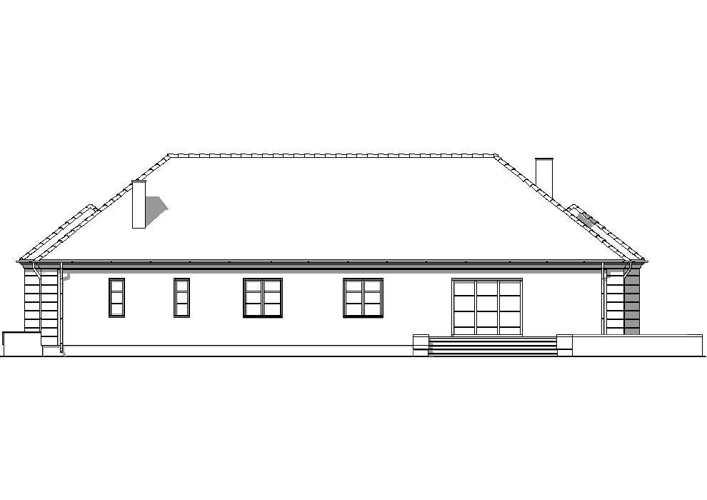 Projekt Domu -DWOREK STAROPOLSKI B667 *Energooszczędny - elewacja tylna